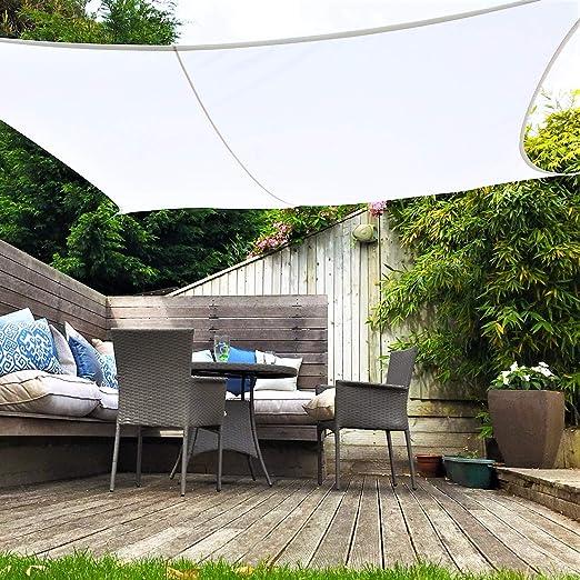 Clara Shade Sail Toldo Vela Blanco Impermeable Sol Vela de Sombra para Jardin Impermeable UV Canopy (Square 5m): Amazon.es: Jardín