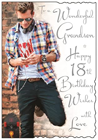 To A Wonderful Grandson Happy 18th Birthday Card Special Words