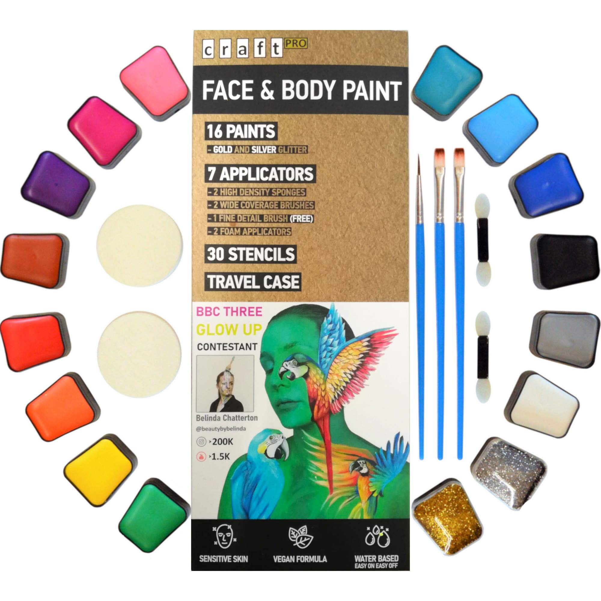 Craft Pro Face Paint - 54 Pieces. Sensitive Skin Approved. Vegan + Cruelty Free. Easy ON Easy OFF (water based formula)
