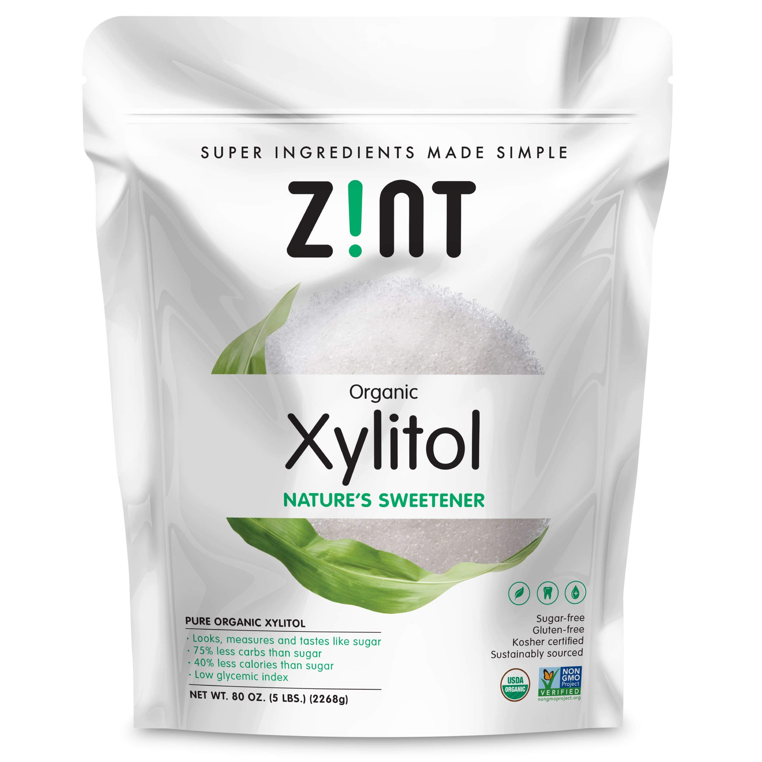 Organic Xylitol Sweetener XL (5 lbs): Keto Friendly, Low-Carb, Low-Calorie, USDA Organic Natural Sugar Substitute, Non GMO, Low Glycemic Index, Measures & Tastes Like Sugar by Zint (Image #1)