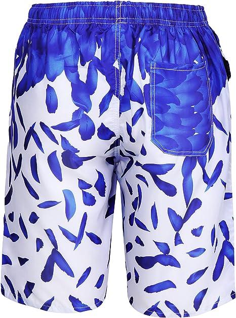 Asciugatura Rapida Pantaloncini da Spiaggia Uomo Hawaiano Aibrou Costumi da Uomo Mare Pantaloncino Costume da Bagno Uomo con Coulisse Regolabile Shorts Uomo da Mare 3 Tasca