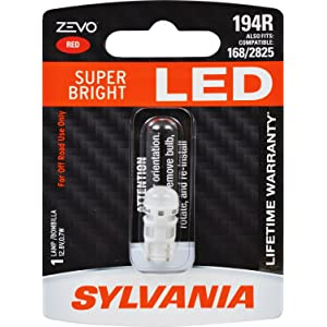 SYLVANIA - 194 T10 W5W ZEVO LED Red Bulb - Bright LED Bulb, Ideal for