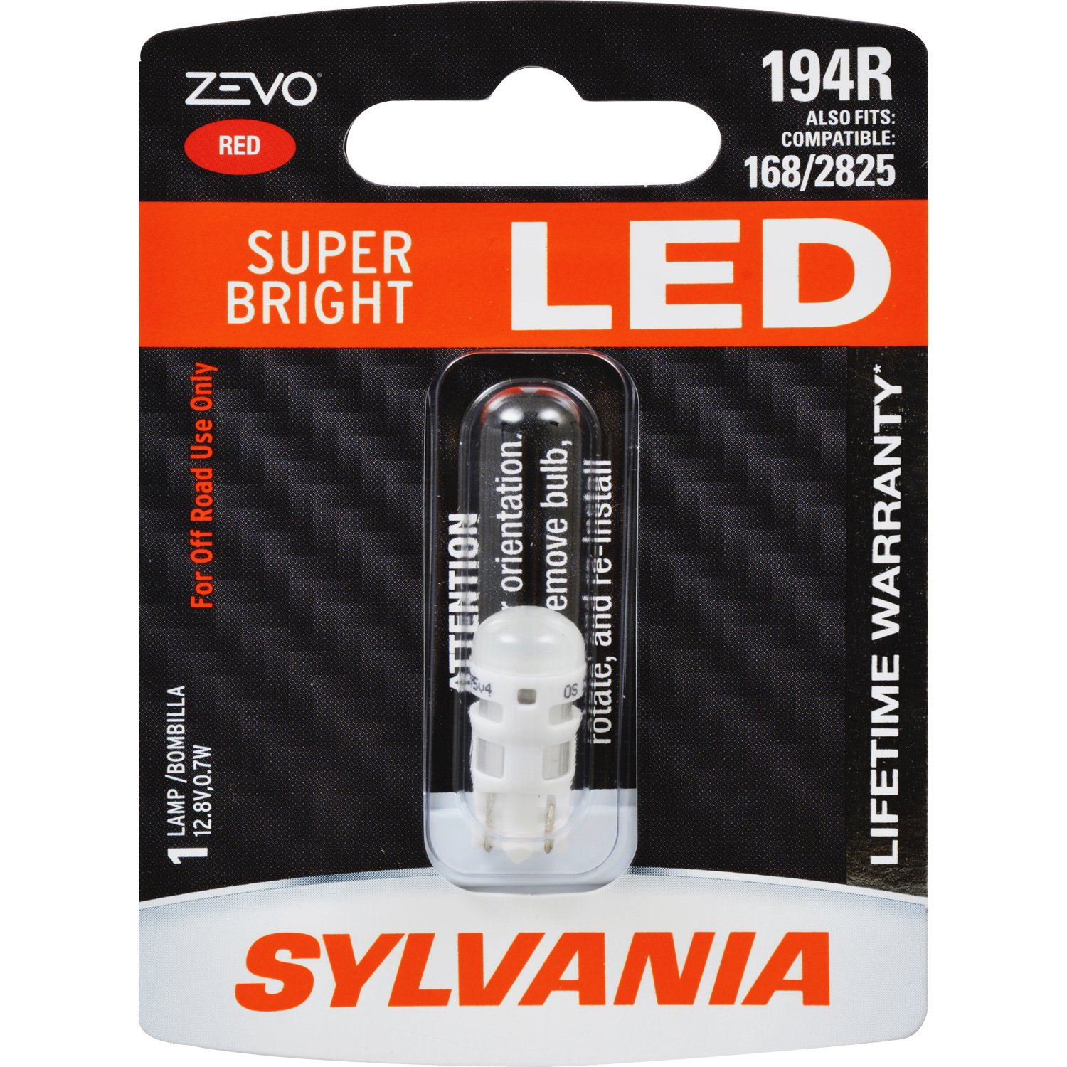 Sylvania 194 T10 W5w Zevo Led Red Bulb Bright Lamp Lightings Gt Wholesale Lamps 5mm Leds Ideal For Interior Lighting Contains 1 Automotive