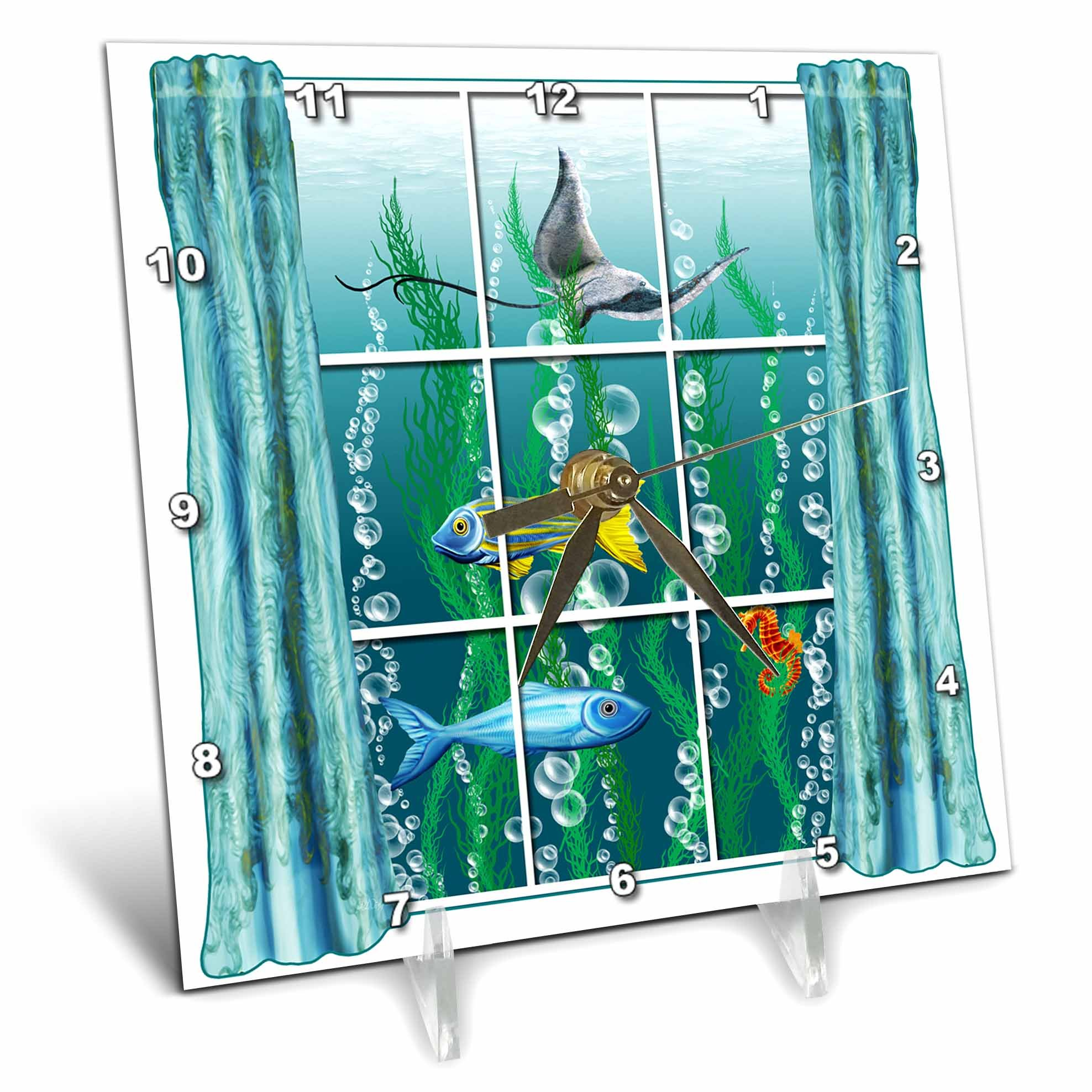 3dRose Dream Essence Designs-The Ocean - A surreal scene of a room with view to ocean life through the window. - 6x6 Desk Clock (dc_266098_1)