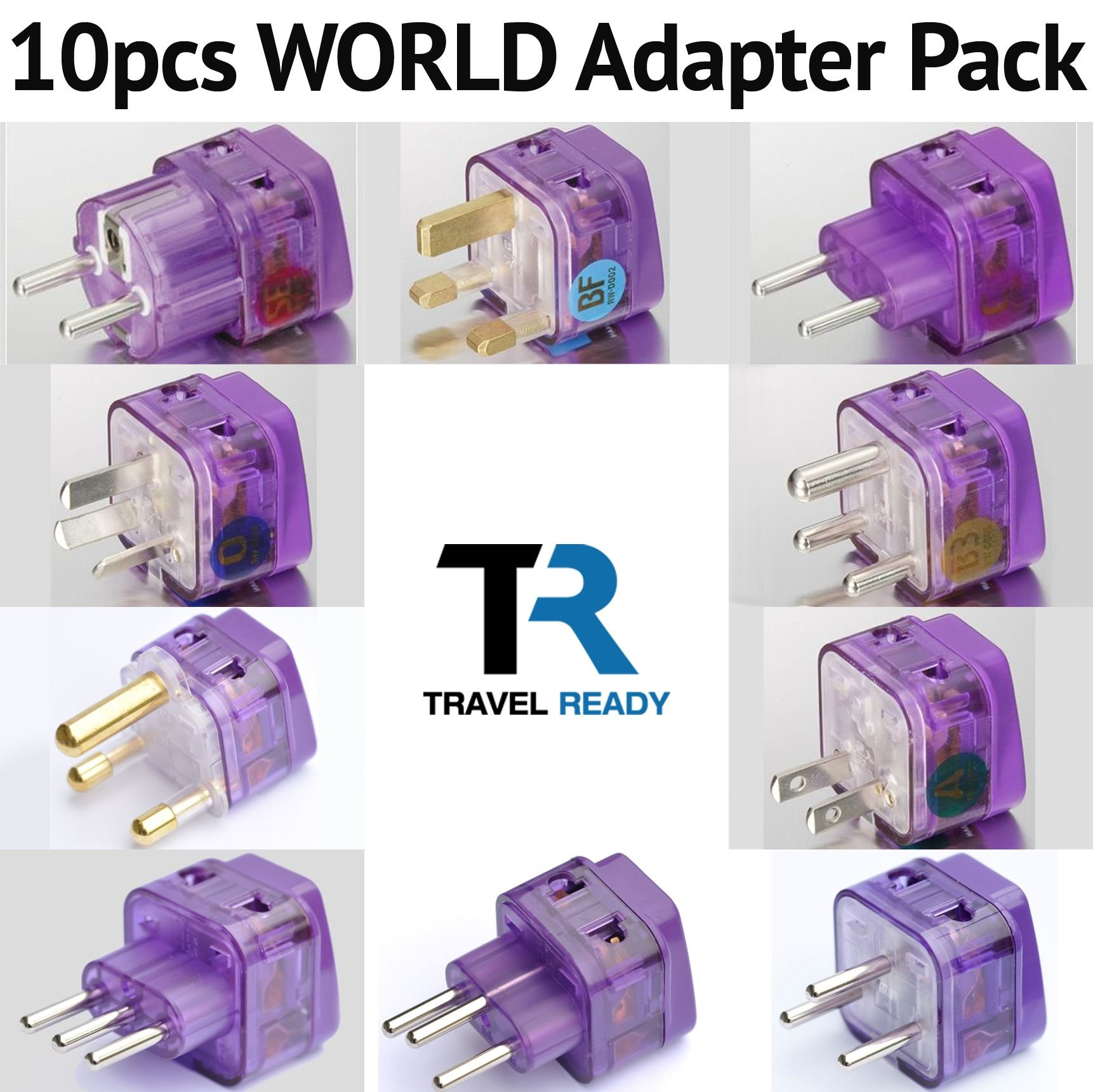 NEW! 10 Pieces HIGH QUALITY WORLD TRAVEL ADAPTER Pack for ALL countries in the WORLD; EUROPE ASIA AFRICA AUSTRALIA SOUTH and N. AMERICA MIDDLE EAST / WITH DUAL PLUG-IN PORTS AND SURGE PROTECTORS