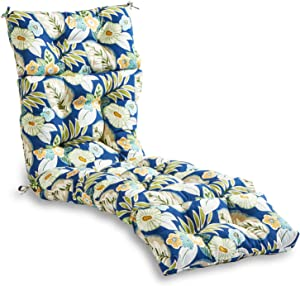 South Pine Porch AM4804-MARLOW Marlow Blue Floral 72-inch Outdoor Chaise Lounge Cushion