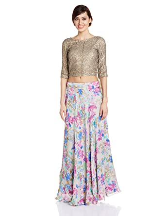 df6f63c27e IndusDiva Sequined Crop Top with Floral Lehenga (BLR1070059_Bronze and  Multicolor_34)