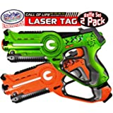 """Matty's Toy Stop """"Call of Life"""" Infrared (IR) Laser Tag Blasters for Kids Red & Green Battle Set - 2 Pack"""