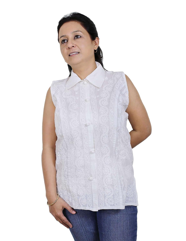 Frauen Kleidung - Baumwolle Ärmelloses Top Bluse Chikan Stickerei Größe L