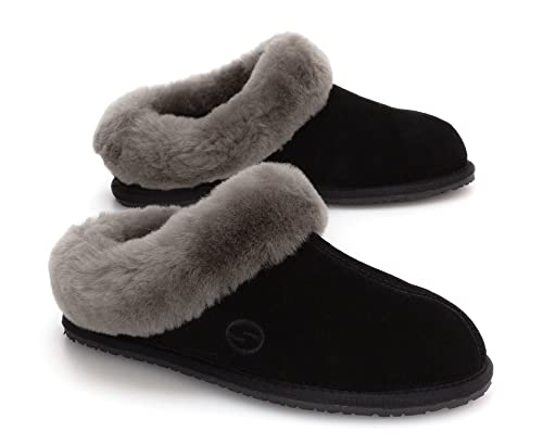 02635f885 SHEPHY Muse Low Back Merino Sheepskin Slippers for Women with Suede Leather  Upper and Cuff (