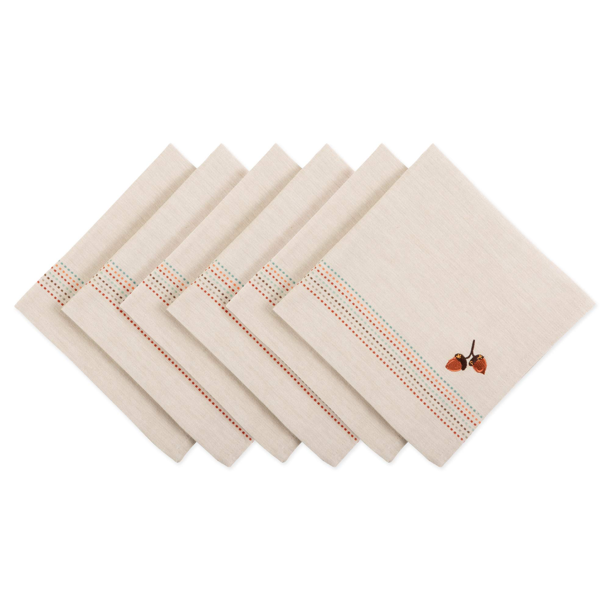 DII CAMZ11227 Oversized Embroidered Cotton Napkin, Perfect for Thanksgiving, Dinner Parties, Friendsgiving and Fall, Set, Acorns by DII