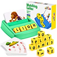 Toys for 3-8 Year Olds Boys Girls, Matching Letter Game Educational Games for Kids Ages 4-8 Stocking Stuffer Gifts for 4-8 Year Old Boys Girls Preschool Kindergarten Educational Spelling Toys Green