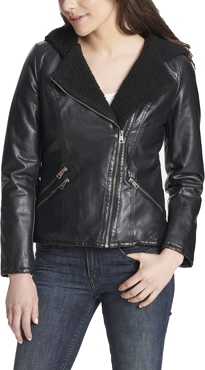 Levi's Women's Asymetrical Sherpa Lined Faux Leather Jacket (Standard & Plus Sizes)