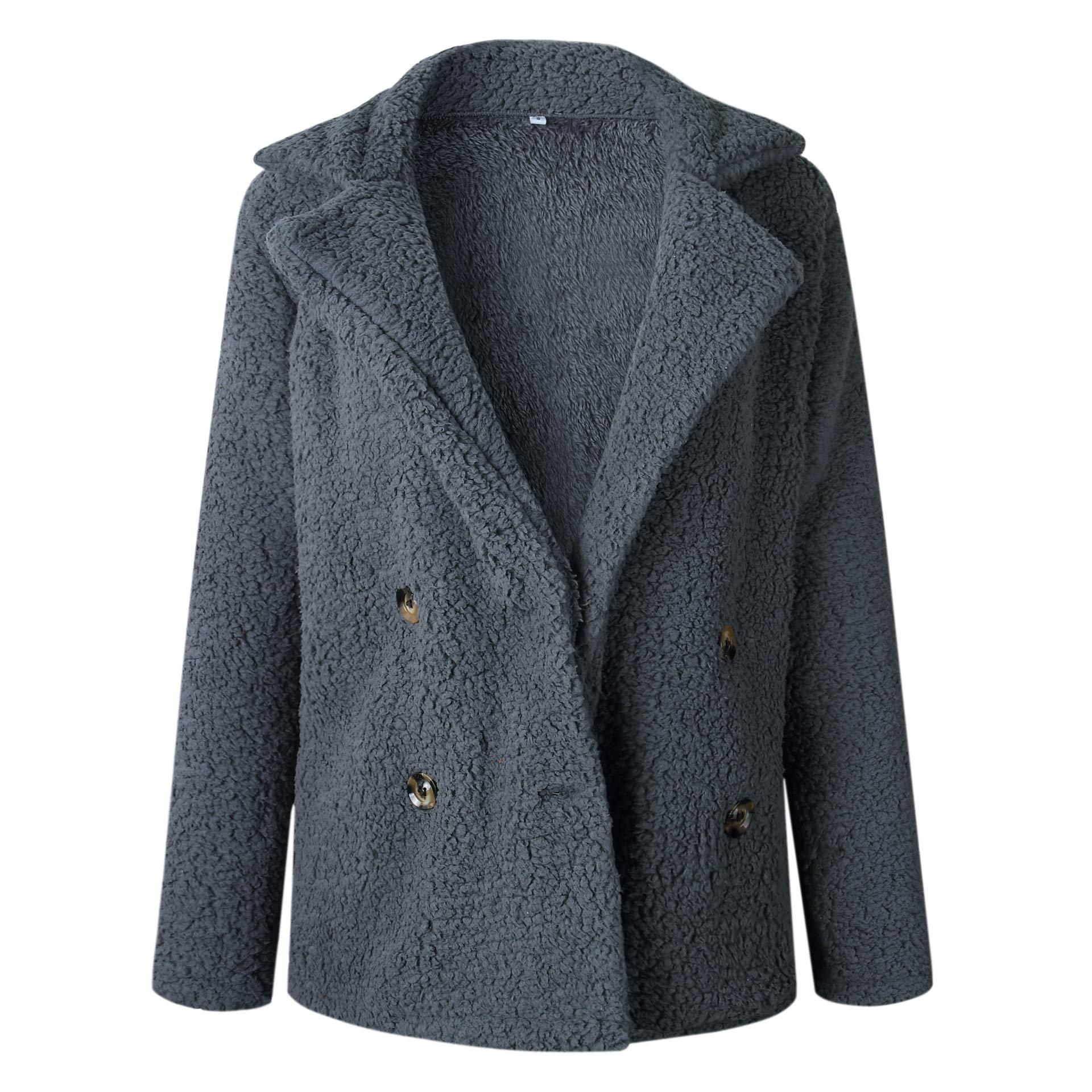 Asskdan Women's Open Front Fuzzy Cardigan Warm Fleece Jacket Coat Long Sleeve Oversized Coat Outwear with Pockets (Dark Grey, L) by Asskdan (Image #4)