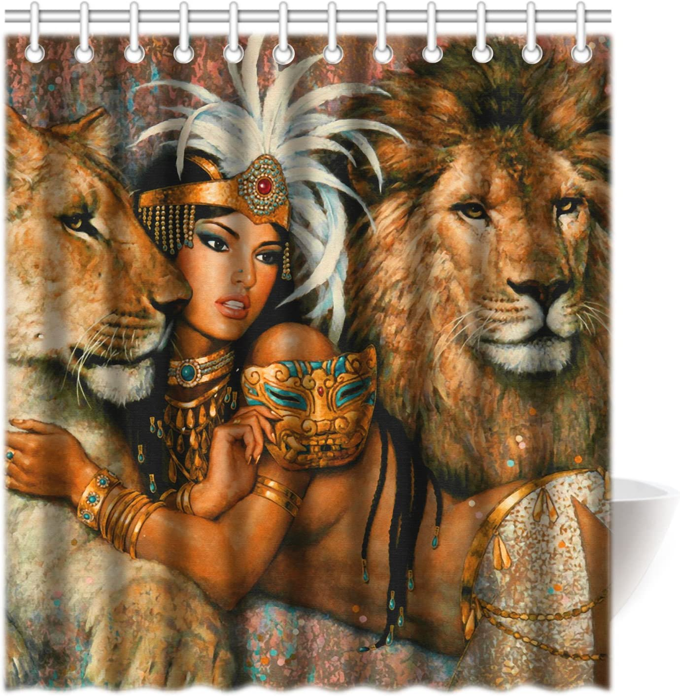 CTIGERS Sexy Lioness Shower Curtain Beautiful African Women and Lion Polyester Fabric Bathroom Decor 66 x 72 Inch