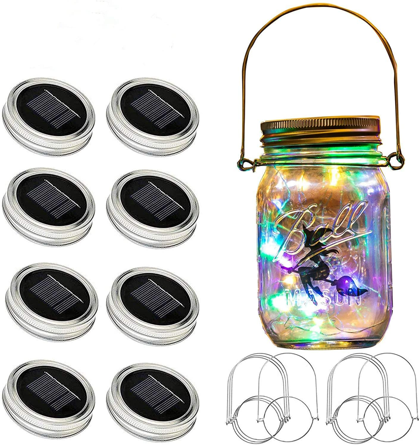 Bethlehem Lighting Updated Solar Mason lid Light, 8 Pack 30Led Waterproof Fairy Firefly, Including 8 Hangers and 6 pcs PVC (Jars Not Included), Best for Courtyard Garden,Wedding(Multi Color)
