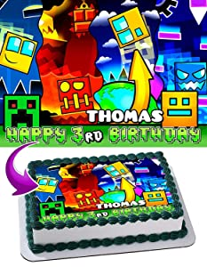 Geometry Dash Edible Image Cake Topper Party Personalized 1/4 Sheet