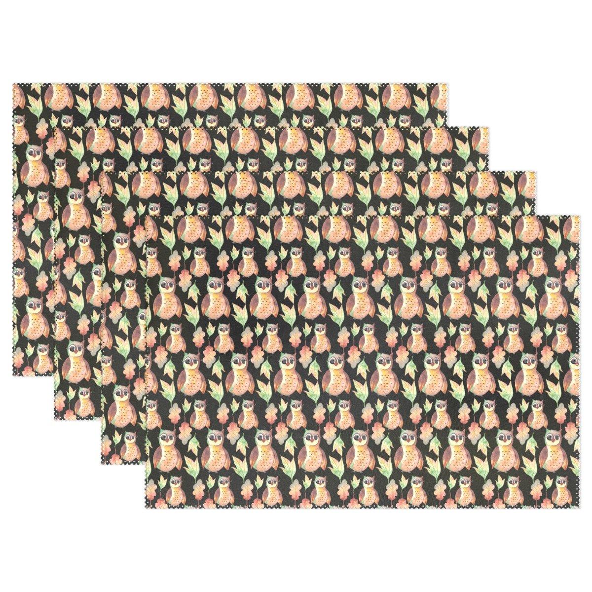 フクロウパターン印刷プレースマットテーブルマット、12