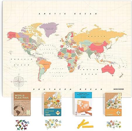 Miss Wood Kit de Mapa de Viaje con Pin de Empuje Incluye: Mapa de Viaje del Mundo del Corcho, Banderas del Mundo, Pegatinas de Alimentos, para viajeros: Amazon.es: Hogar