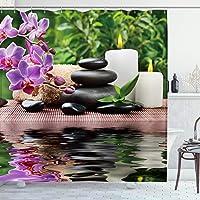 Ambsunny Spa - Cortina de ducha con flores de orquídea, piedra de masaje, aceite de hierbas y velas aromáticas, diseño…