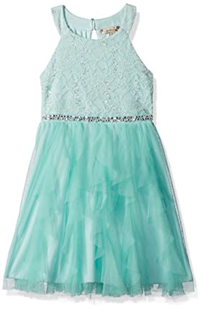 4a5d891104177 Speechless Girls' Little High Neck Lace Sequin Bodice with Mesh Waterfall  Tulle Skirt, Mint