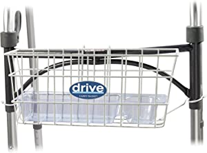 Drive Medical Walker Basket, White, with plastic cup holder