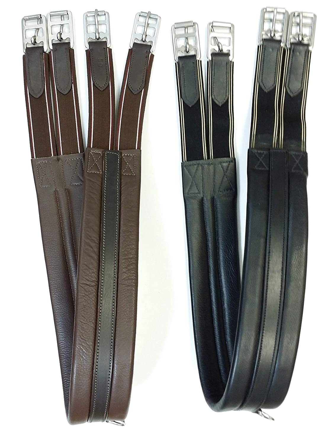 Both End Elasticated A/&S Eq Leather Girths for Horse Cob Pony in Black//Brown 58//147.3 cm, Brown Regular Padded