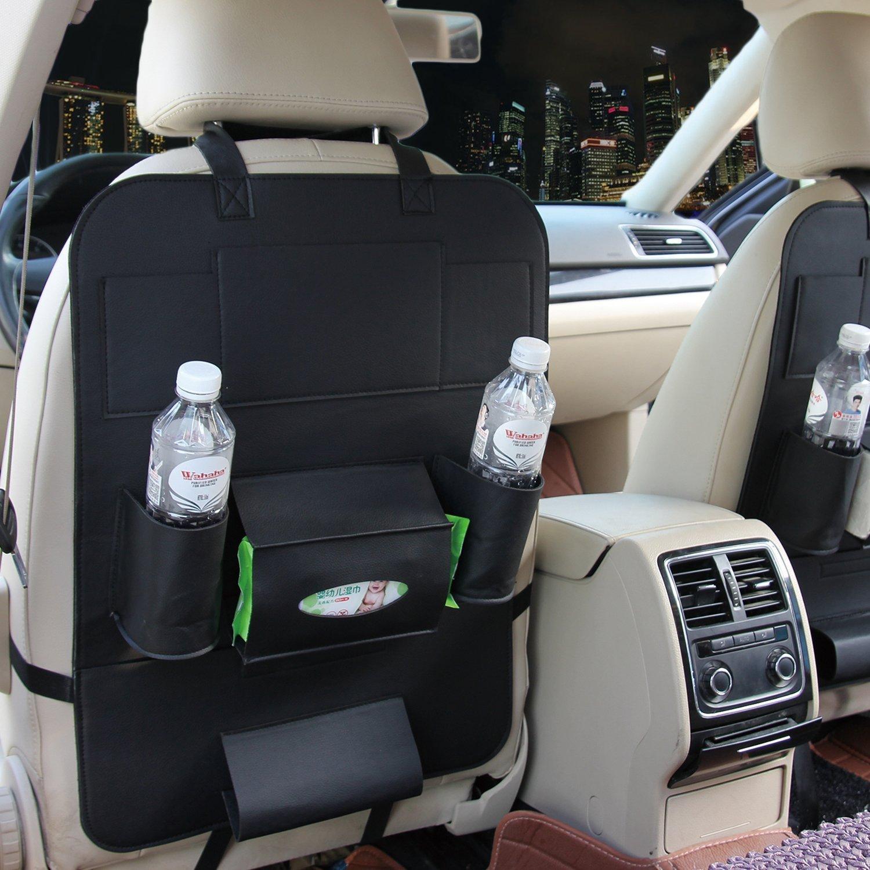 HCMAX 2 Pack Car Seat Back Organizer Pocket Backseat Protector Storage Kick Mat Ipad Mini Holder iPhone Cup Holder Umbrella Tissue Box Great Travel Accessory PU Leather Beige