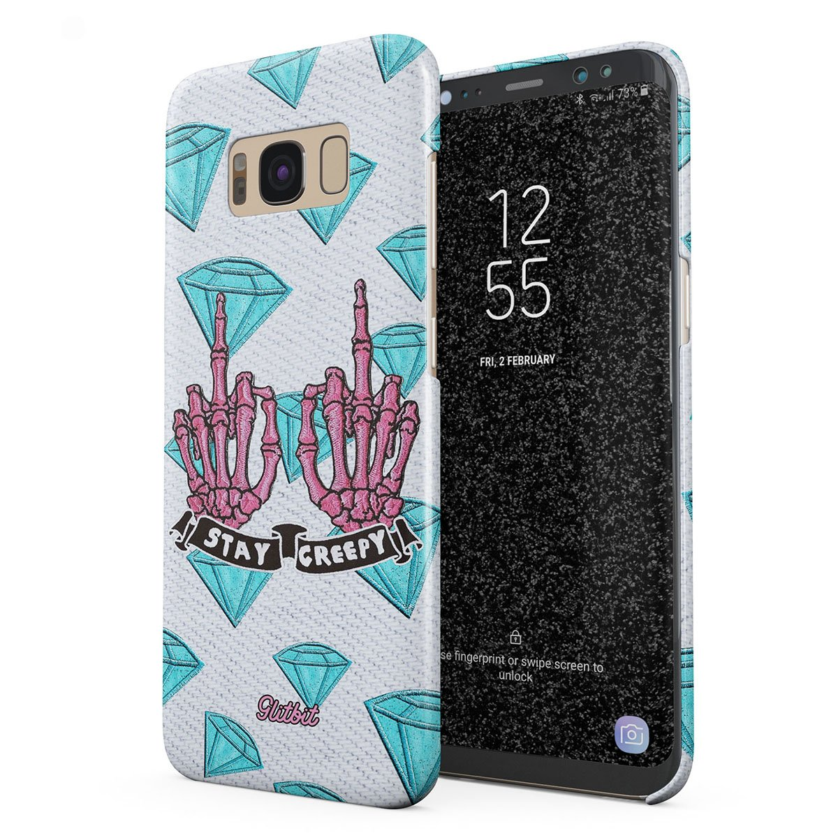 Glitbit Compatible with Samsung Galaxy S8 Case Stay Creepy Stay Weird  Diamond Patches Emo Goth Punk Kawaii Grunge Middle Finger Bitch Thin Design