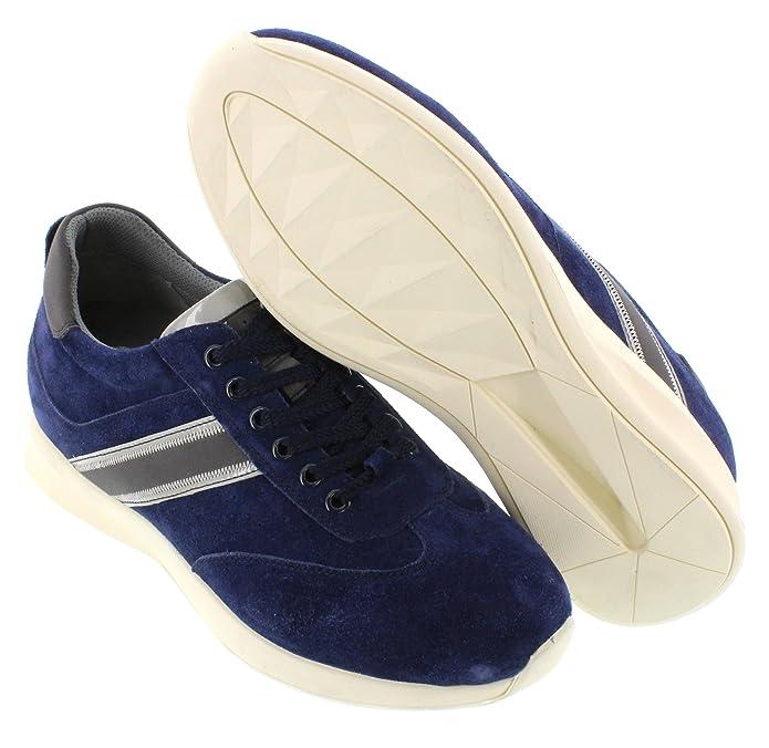 CALTO G30335–6,6cm TalleR–Hauteur augmenter ascenseur Shoes-dark Marron Fermeture Éclair Bottes - Marron - marron,