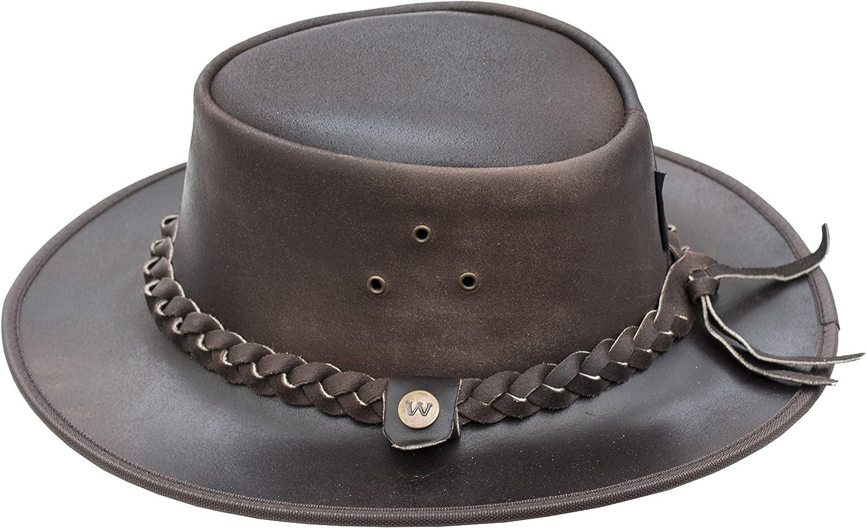modello australiano Bush Hat marrone Style Outback Cappello in pelle di Wombat