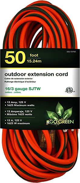 GoGreen Power Heavy Duty Extension Cord 50ft GG13750 ORANGE