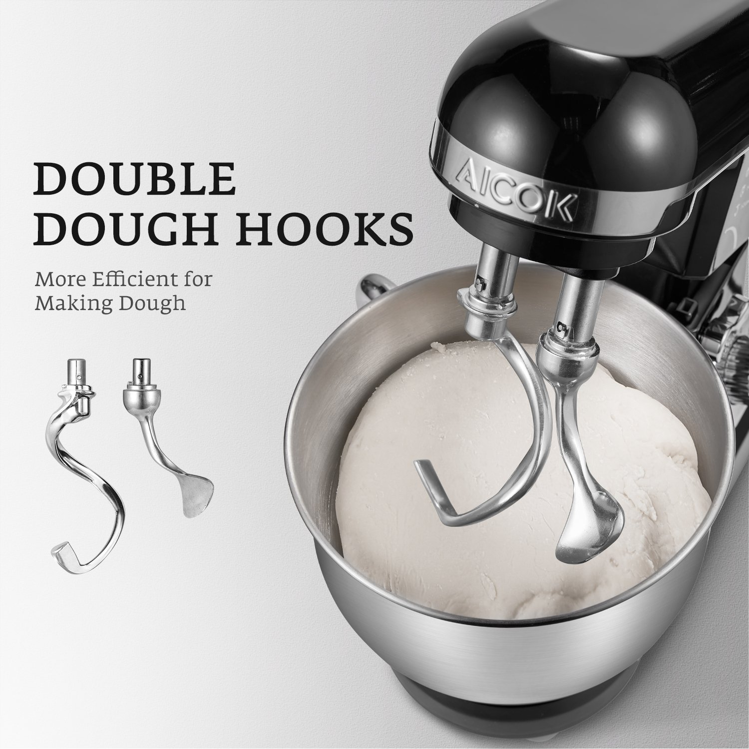 Stand Mixer, Aicok Dough Mixer with 5 Qt Stainless Steel Bowl, 500W 6 Speeds Tilt-Head Food Mixer, Kitchen Electric Mixer with Double Dough Hooks, Whisk, Beater, Pouring Shield, Black by AICOK (Image #2)