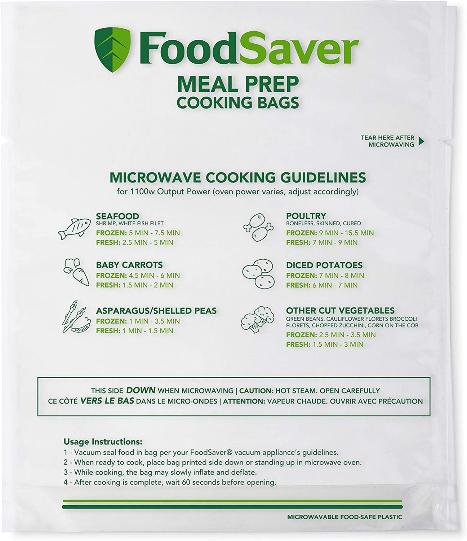 FoodSaver Microwavable Meal Prep Bags, for FoodSaver Vacuum Sealers, 1 Quart, 16 Ct.