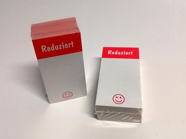 4 x 8 cm f/ür R/äumungsverkauf aus Karton 100 St/ück Preisschilder Reduziert Smilie
