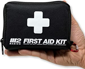M2 BASICS 150 Piece First Aid Kit w/Compact Bag, Carabiner, Emergency Blanket | Free First Aid Guide | Emergency Medical Supply | Full of Supplies for Home, Office, Outdoors, Car, Camping, Travel