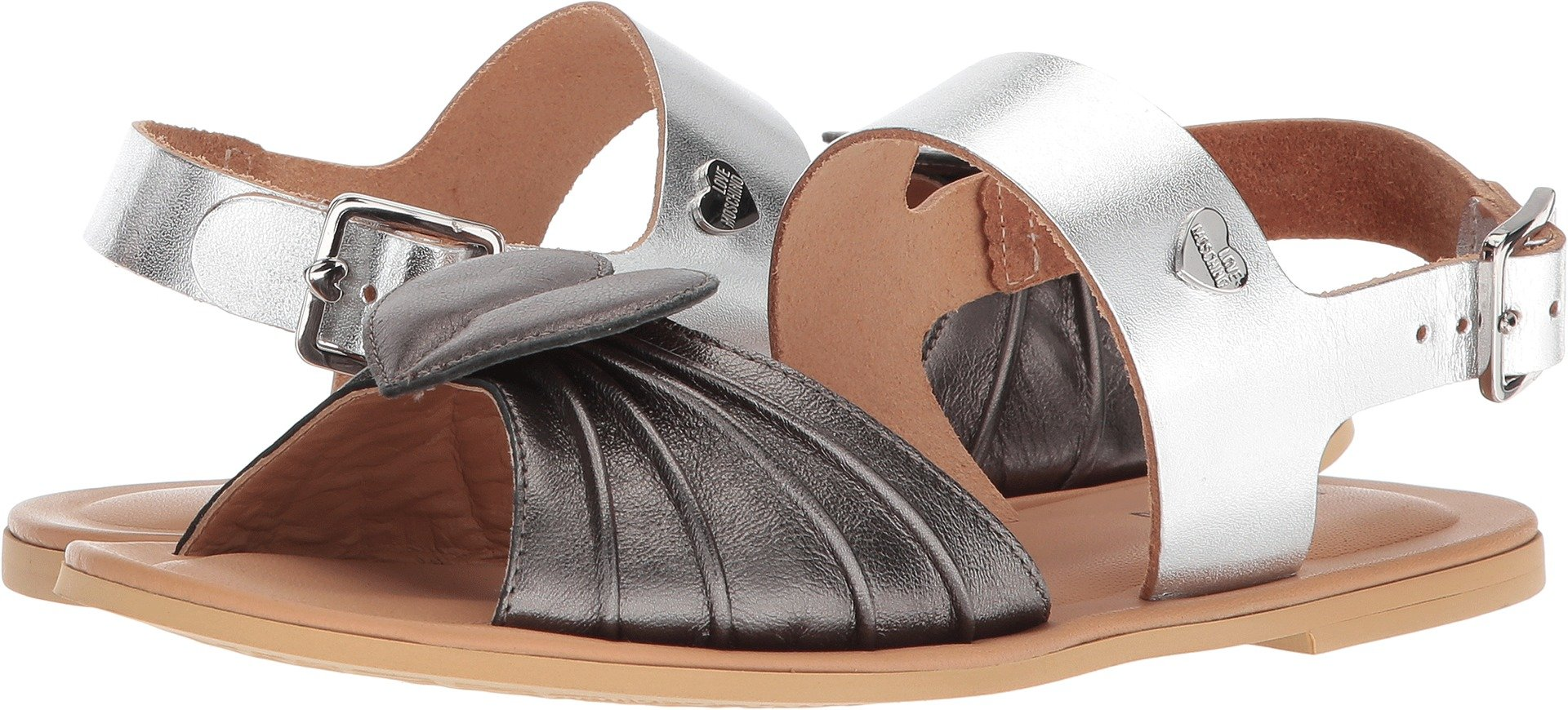 Love Moschino Women's Leather Sandals w/Tone On Tone accessories Black/Silver 40 M EU by Love Moschino (Image #1)