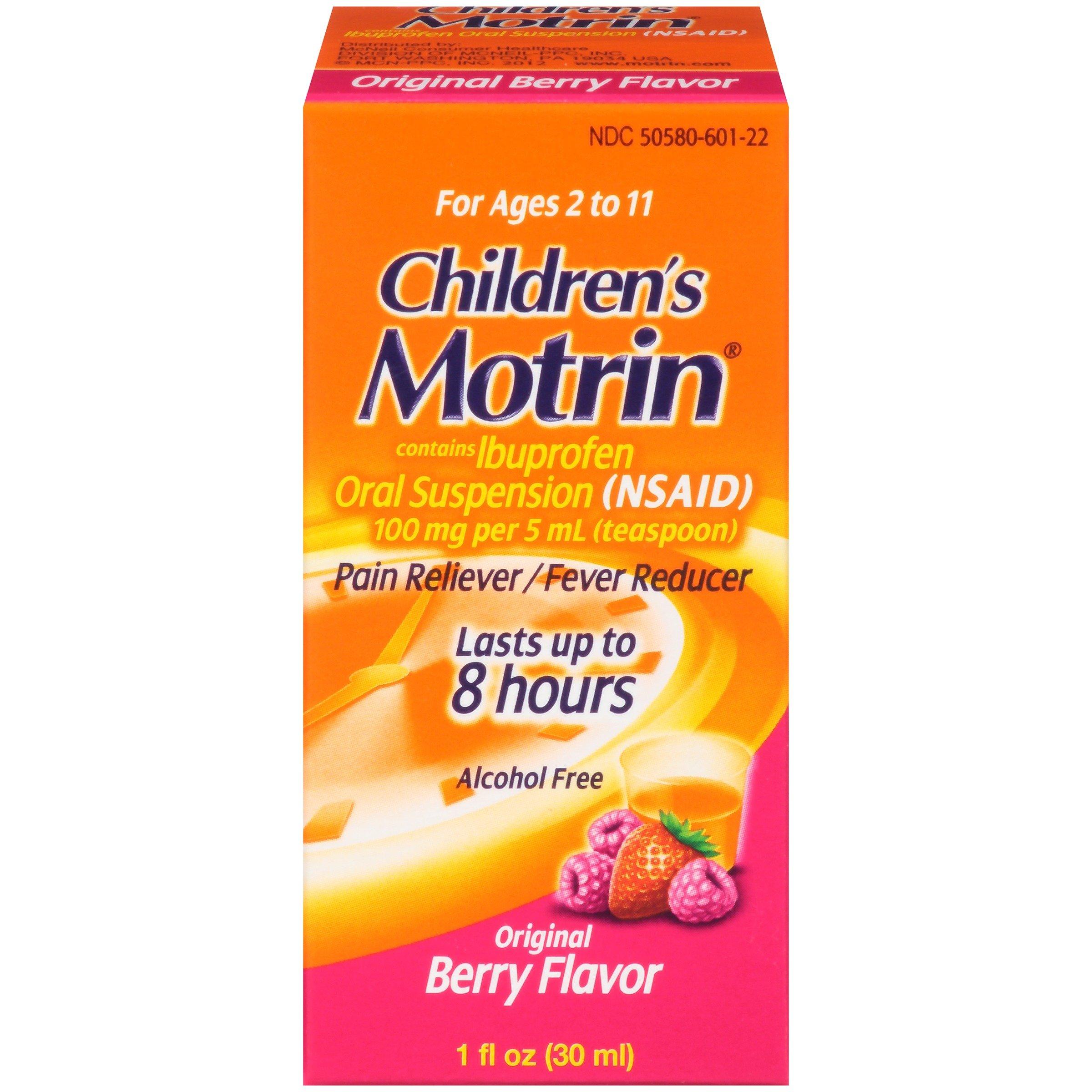 Children's Motrin Oral Suspension, Pain Relief, Ibuprofen, Berry Flavored, 1 Oz (Pack of 6)