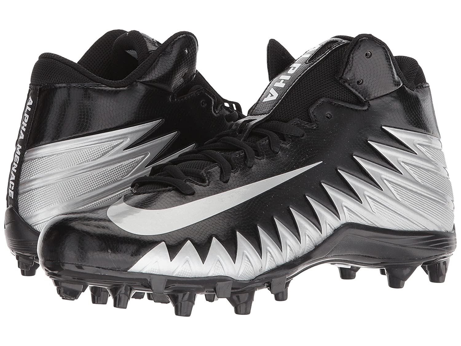 (ナイキ) NIKE メンズフットボールアメフトシューズ靴 Alpha Menace Varsity Mid Black/Metallic Silver/White 10 (28cm) D Medium B07CP15BKT