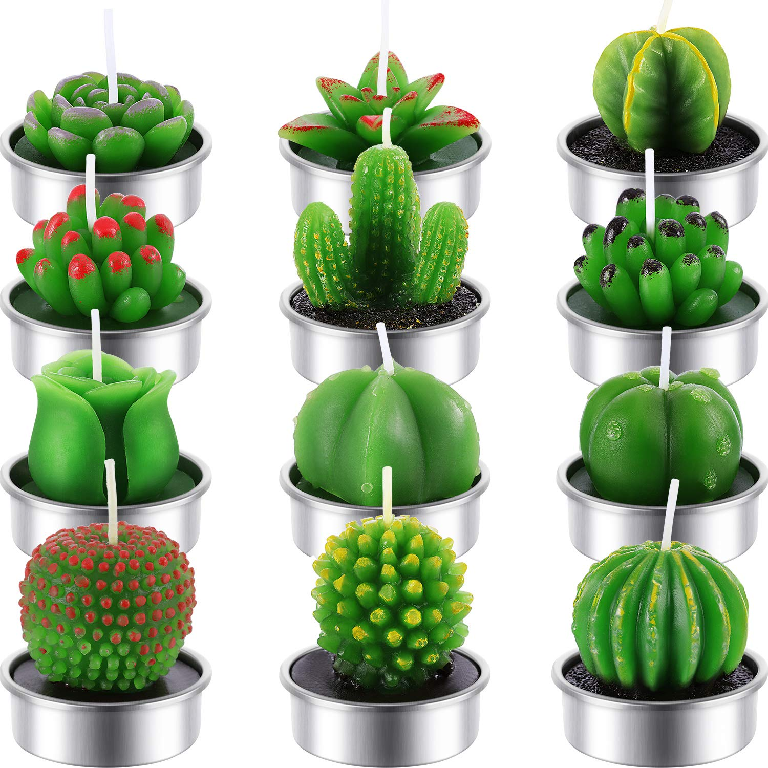 12 Pieces Cactus Candles Succulent Cactus Rose Tealight Handmade Candles for Teatime Spa Home Party Wedding Decoration Gifts Tatuo