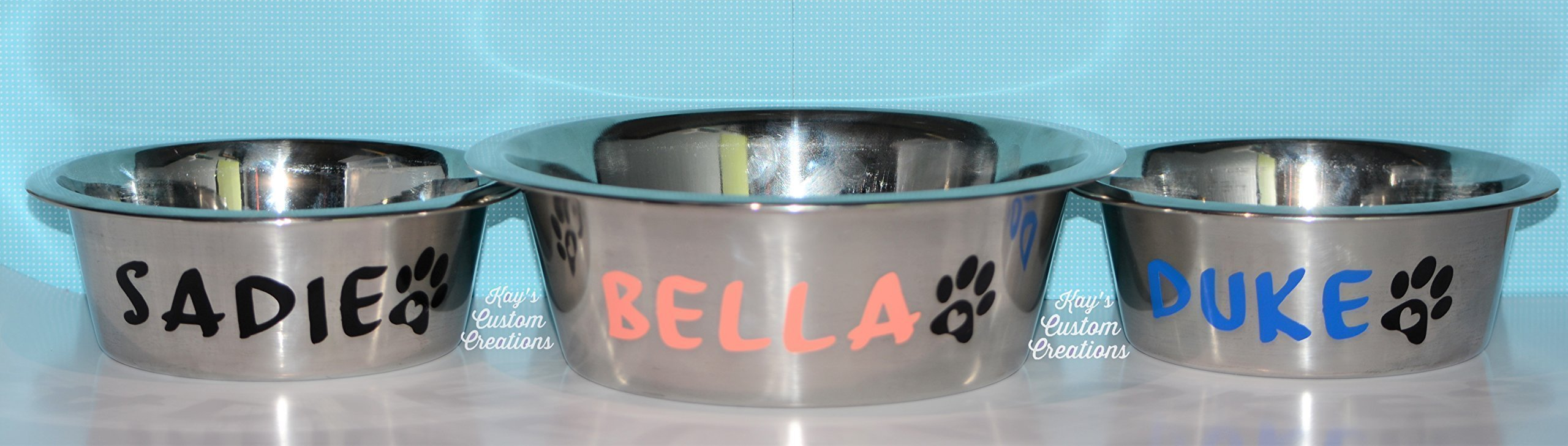Personalized stainless steel pet bowls (dog, cat, etc)