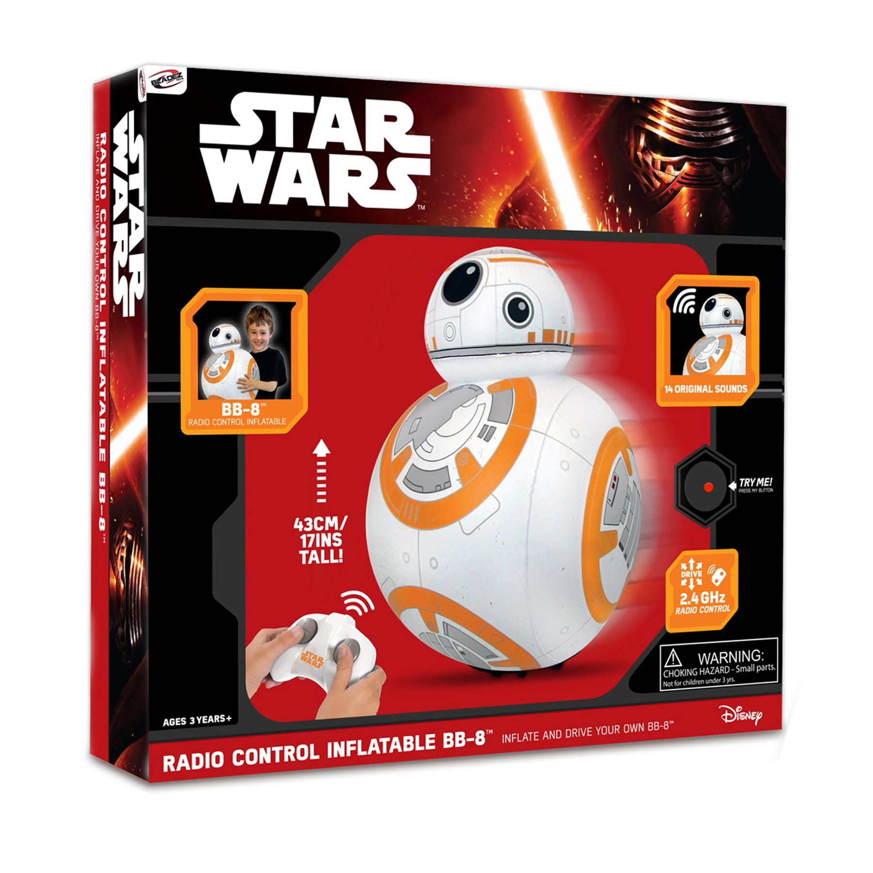 Juguetronica Bladez Inflatable Star Wars Droid BB-8聽RC with Sound Mini Size (47聽cm) by Juguetronica (Image #2)
