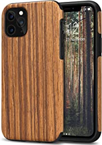 TENDLIN Compatible with iPhone 11 Pro Max Case Wood Grain Outside Design TPU Hybrid Case (Red Sandalwood)