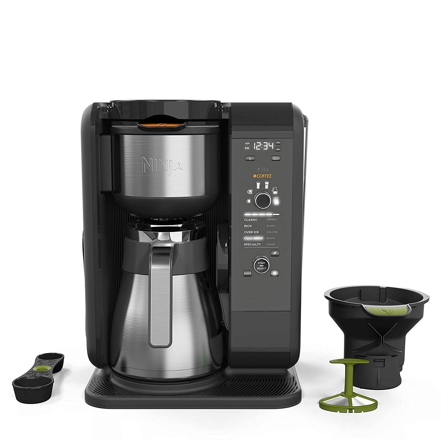 Ninja Hot and Cold Brewed System, Auto-iQ Tea and Coffee Maker with 6 Brew Sizes, 5 Brew Styles, Frother, Coffee & Tea Baskets with Thermal Carafe (CP307) (Renewed)