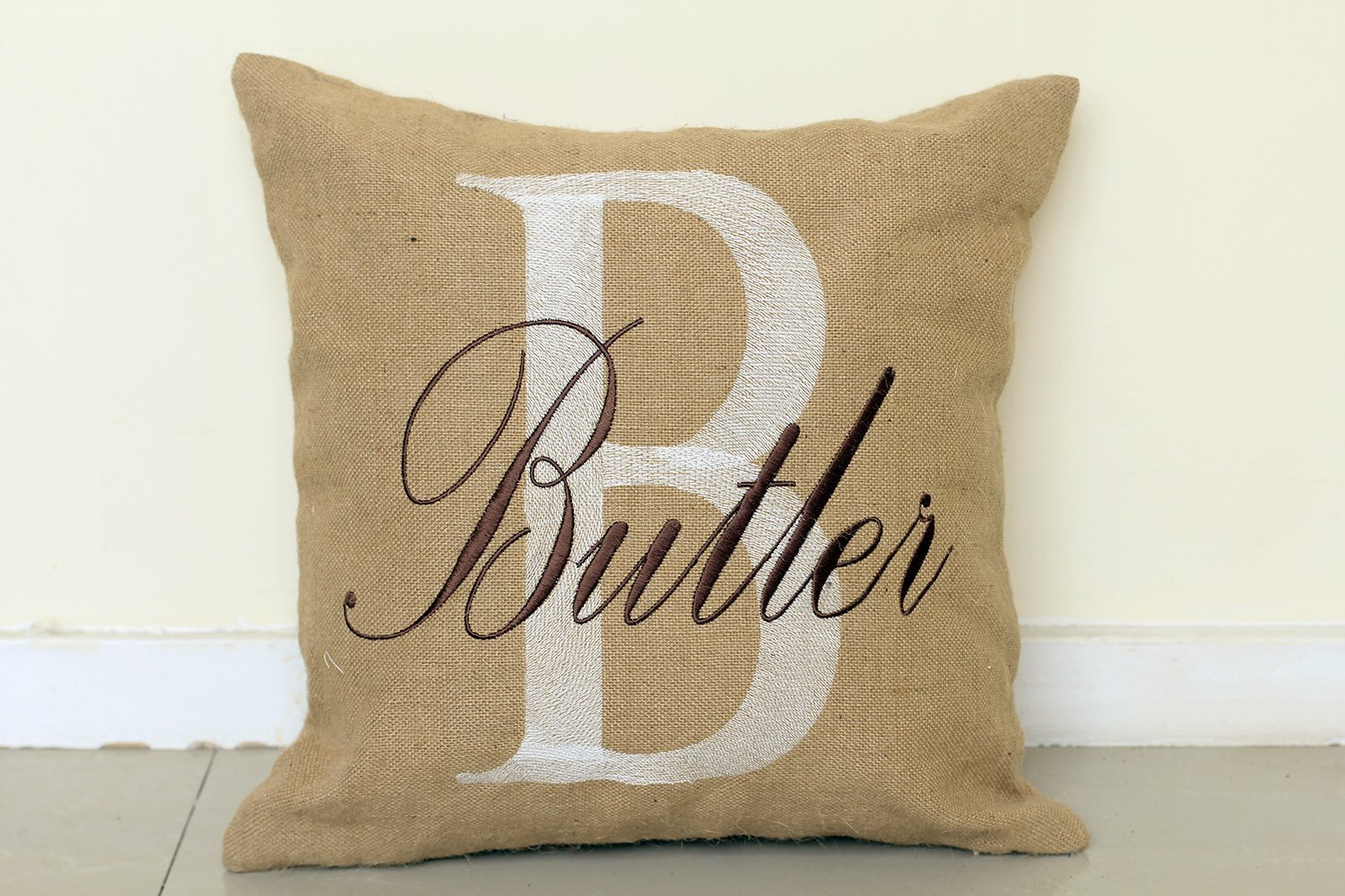 DecorHouzz Personalised Embroidered Burlap Pillow Cover Pillow Cases Decorative Pillow Custom Name Cushion Throw Pillow