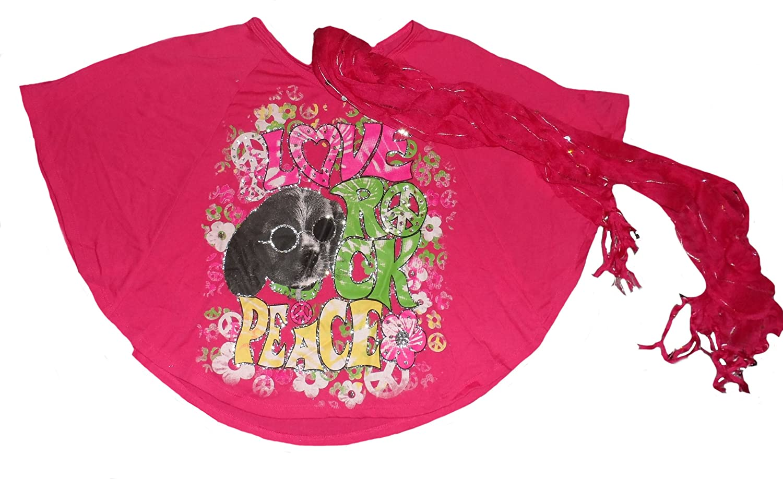 Rock Knitworks Big Girls Love Peace Fashion Top /& Scarf Set