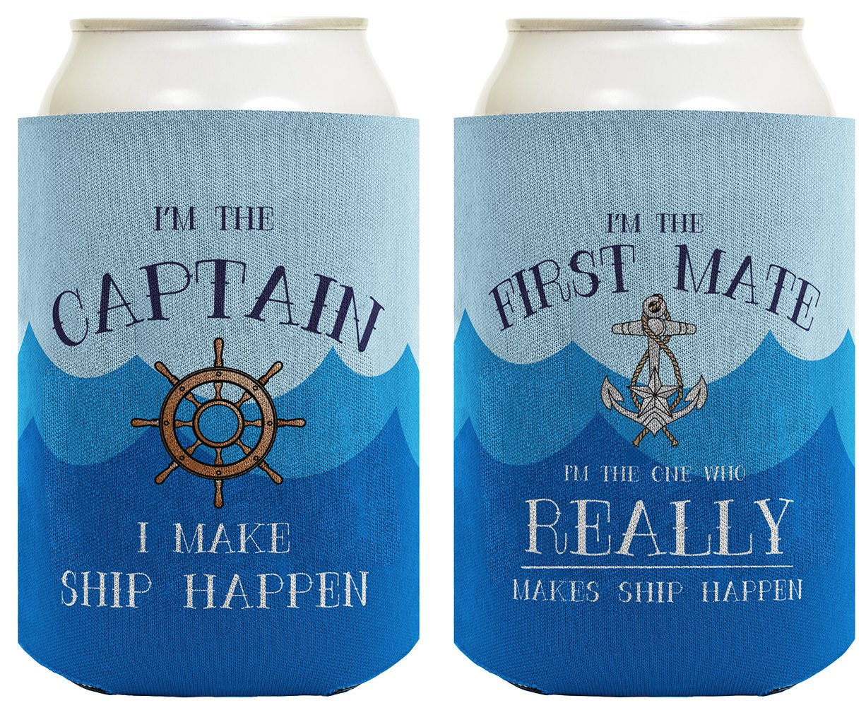 Funny Boating Gifts Captain First Mate Ship Happen Bundle 2 Pack Can Coolie Drink Coolers Coolies Waves A-B-S-C0461-02