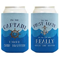 Funny Boating Gifts Captain First Mate Ship Happen Bundle 2 Pack Can Coolie Drink Coolers Coolies Waves