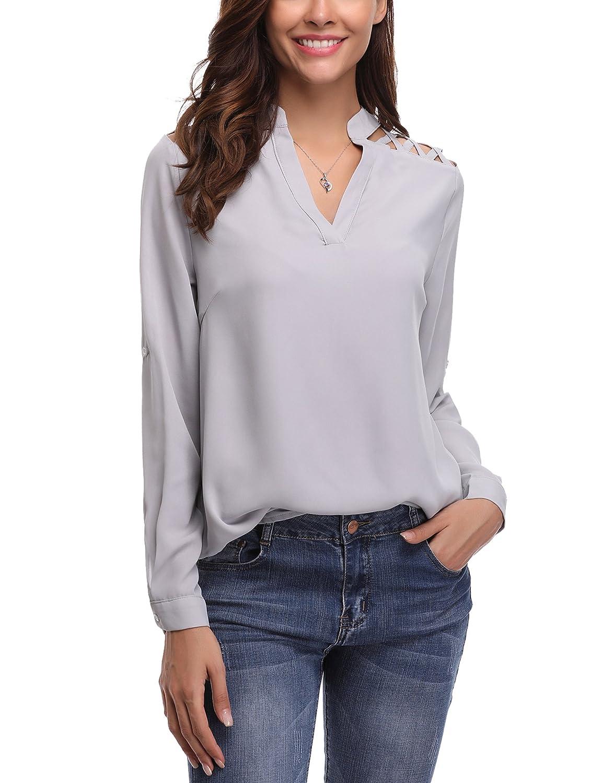 Abollria Camicia Donna Elegante a Maniche Lunghe Regolabili Blusa di Chiffon per Ufficio Camicetta a Scollo-V per Primavera Estate Autunno
