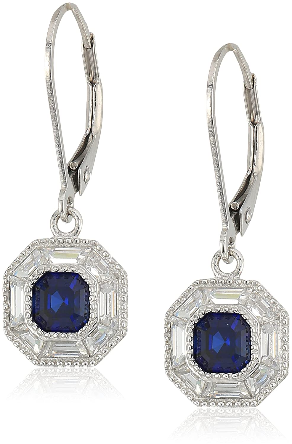 platinum-plated sterling silver cubic zirconia octagon vintage halo with created sapphire earrings